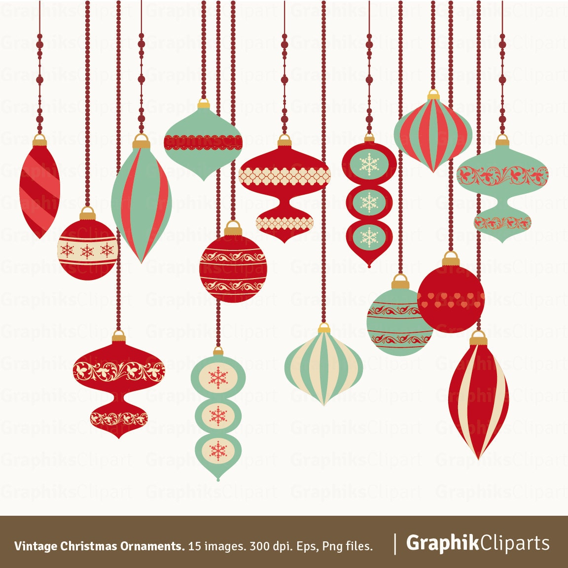 Vintage Christmas Ornaments Clipart. Christmas Clipart.