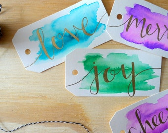 Holiday Watercolor Gift Tags (Set of 8) - Hand Lettered - Modern Calligraphy