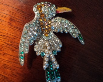 Rare Early Pot Metal Jeweled Rhinestone and Pearl Parrot Brooch w Painted Beak