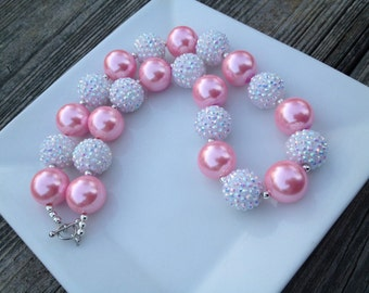 1 Pink & White Chunky Necklace, Pink and White Bubblegum Necklace, Pink and White Rhinestone Chunky Necklace, Baby Necklace