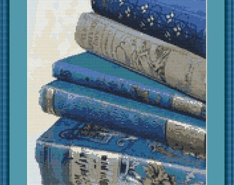 Classic Favorite Books Spines Counted Cross Stitch Pattern in PDF for Instant Download