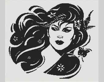 Nature Woman Silhouette Lady With Flowers In Her Hair Counted Cross Stitch Pattern in PDF for Instant Download