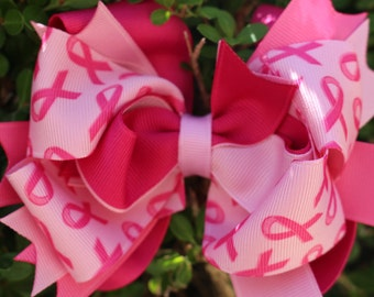 Breast Cancer Awarness Hair Bow Awarness Boutique Bow Breast Cancer Hair Bow