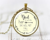 Large God Is Within Her She Wil Not Fall Pendant Necklace Christian Necklace Christian Pendant Inspirational Psalm 46:5 Necklace