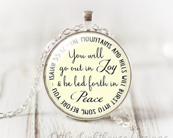 Large Go Out In Joy Pendant Necklace Large Pendant Necklace Scripture Long Pendant Necklace Christian Necklace Inspirational Gift  Gift