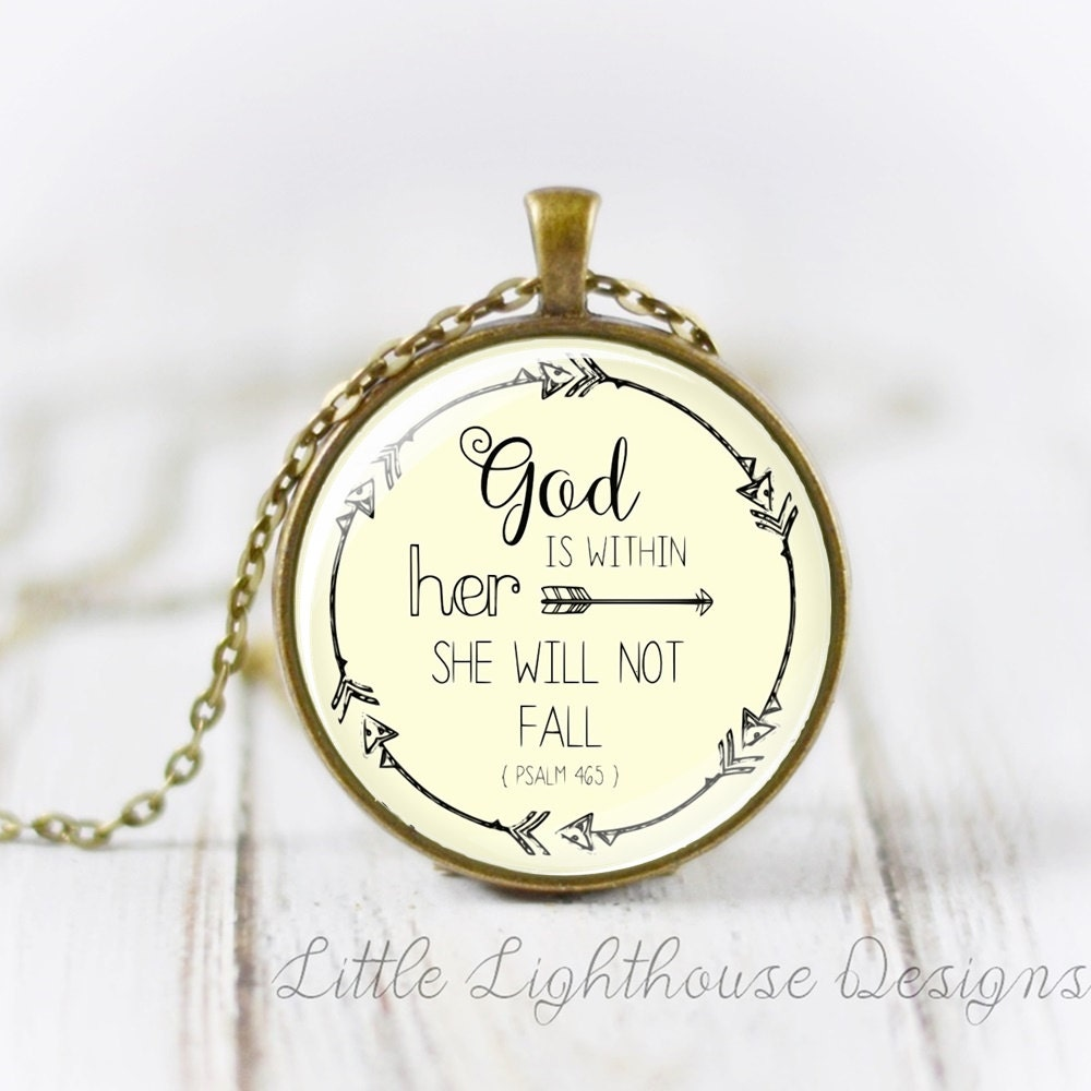 large god is within her she wil not fall pendant necklace