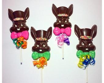 Easter Bunny Belgian Chocolate Lollipops w/ Top Hat