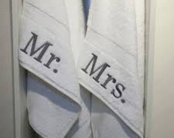 Mr. & Mrs. Towels/ His and Her Towels/ Hand towel Set/ Monogrammed Towels