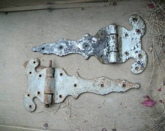Giant Victorian Antique Gate or Ornate Door Hinges.