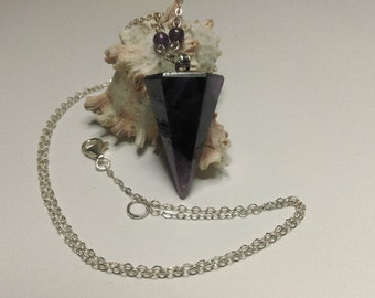 Amethyst gemstone pendant pendulum sterling silver necklace