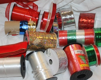 Tons of Holiday Season, Christmas Season Ribbons, Birthday, Wrapping Packages, All Colors and Types of Ribbons, Supplies for Decorating