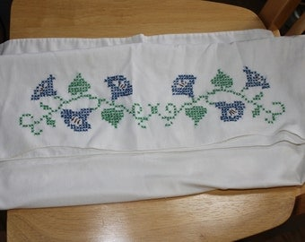 Vintage Pillow Case, Cross Stitched, Still Usefull