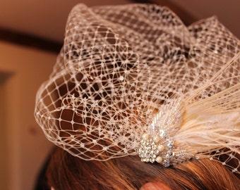Wedding birdcage veil art deco, vintage inspired headpiece, wedding birdcage veil, wedding fascinator, wedding headpiece, wedding veil