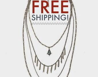 Layered Necklace, Multi strand necklace, Layering Necklace. statement necklace. Tiered Necklace, layered bead,boho, bohemian. (2235)