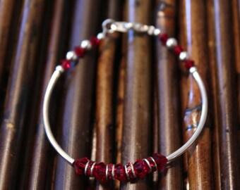 Ruby Red Swarovski And Silver Bracelet