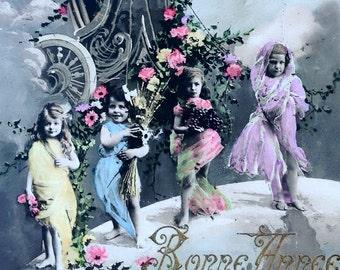 Edwardian Roman Aesthetic // Antique tinted real photo postcard, idealistic Edwardian fantasy art // Chariot, clouds, cherub, birds, flowers