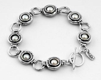 SHABLOOL bracelet, pearl Birthstone bracelet, pearl bracelet, june bracelet, pearl Birthstone, oxidized  bracelet, june Birthstone,