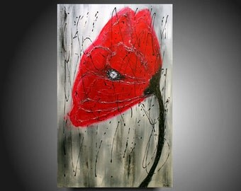 Abstract painting Contemporary  Red Poppy oil painting multicolored landscape painting Acrylic painting Surreal