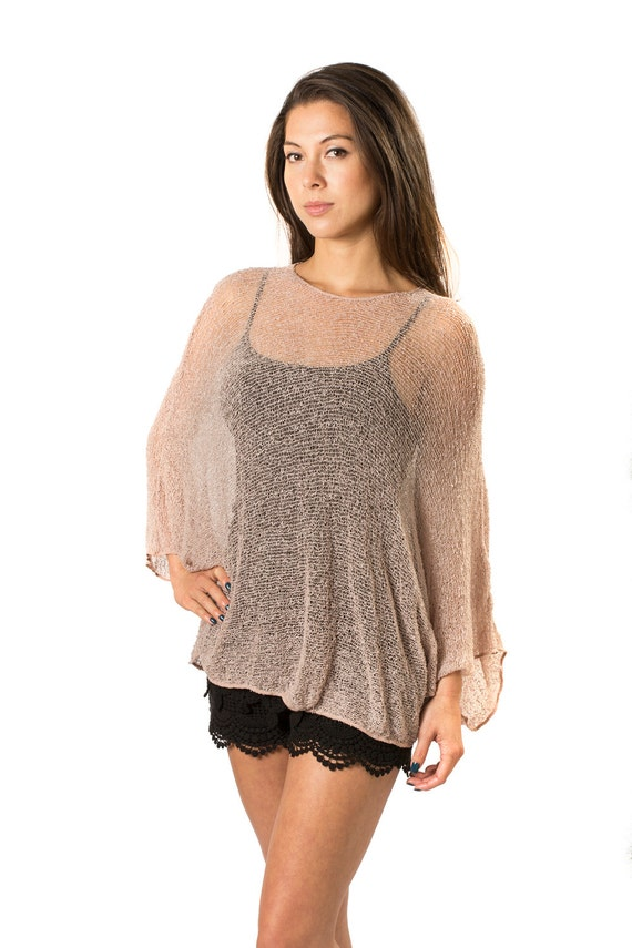 Tan nude prema beach cover up shirt tunic woven open knit for Beach shirt cover up