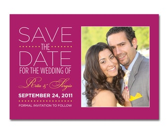 Wedding Save-the-Date with Photo - Side-by-Side - Printable and Personalized
