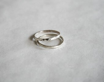 Set of 2 Sterling Silver .925 Stacking Rings (Women US Size 9) - Minimal/Elegant/Delicate/Simple/Boho/Handmade/Textured