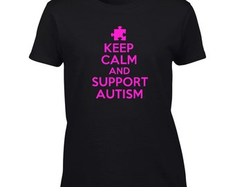 Keep Calm And Support Autism T-Shirt Austism Awareness Mens Ladies Womens Kids Big And & Tall