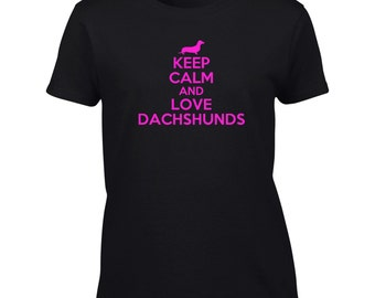 Keep Calm And Love Dachshunds T-Shirt Funny Dachshund Lover Mom Mens Womens Youth Kids Big And & Tall