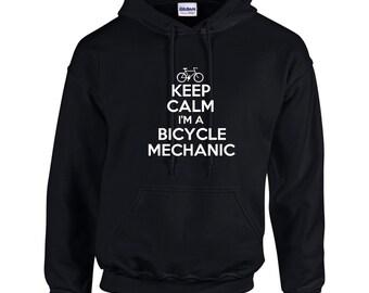 Keep Calm I'm A Bicycle Mechanic Mens Hoodie  Funny Occupation