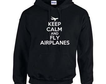Keep Calm And Fly Airplanes Mens Hoodie  Funny