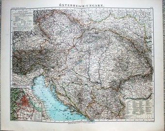 Large Antique German Map of Austria Hungary by Wagmer & Debes 1899