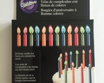 Candles, Color Flame Birthday Candles, Happy Birthday, 12 Candles Total, Various Colors, Birthday, Wilton