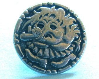 Troll Girl or Mop Top pewter button