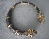 Spectacular DONALD STANNARD Signed Double RAM Head Gold Grey Enamel Chunky Bold Statement Collar Necklace Rare Vintage Aries Divine!!
