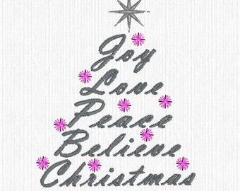 Embroidery Design Pattern File Christmas Tree built by Words