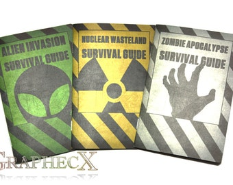 Survival Guides: Zombie Apocalypse, Nuclear Wasteland, Alien Invasion. Personalized Notebook Journal