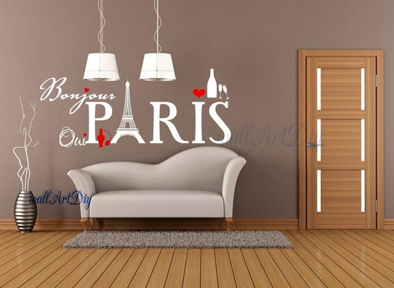 Items similar to paris wall decals eiffel tower wall stickers french style wall decor city wall - Eiffel tower decor for bedroom ...