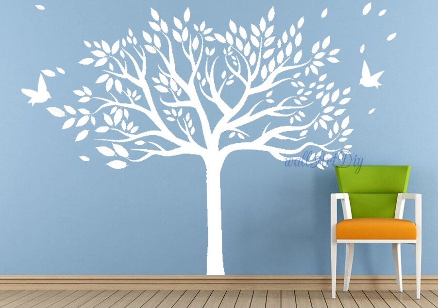 white tree wall decals giant tree wall murals vinyl by wallartdiy. Black Bedroom Furniture Sets. Home Design Ideas