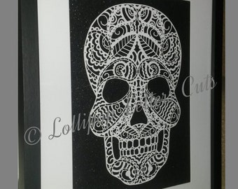Paisley Skull, DIY, Paper Cut Template, Commercial Use