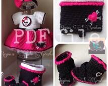 crochet baby dress, crochet baby pattern, crochet dress, baby dress pattern, crochet pattern, baby bike dress, biker dress, baby skull dress