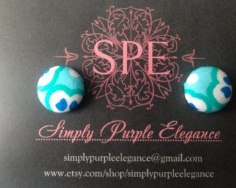 Blue Spring Hand Made Fabric Button Earrings