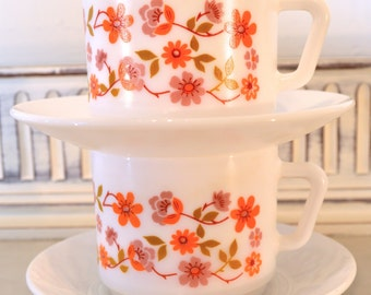 1970s arcopal french milk glass cup and saucers, scania pattern x2