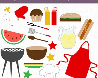 Summer BBQ Cook-Out Clipart Digital Art Set Instant Download Summer Clipart BBQ Clipart Cook Out Clipart