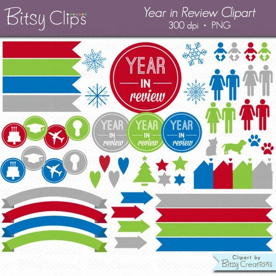 Year in Review Clipart Commercial Use Clip Art INSTANT DOWNLOAD Digital Art Set Christmas Card Clipart Holiday Card Clipart