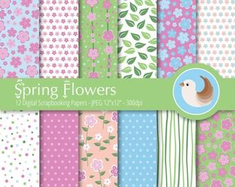 Flower Digital Paper - Spring Flowers Digital Paper - Spring Digital Paper - Set of 12 Digital Scrapbooking Papers
