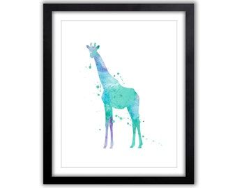 Abstract Giraffe Wall Art - Watercolor Girafffe - Silhouette - Blue, Green and Purple - Giraffe Painting - Art for the Home - GI037