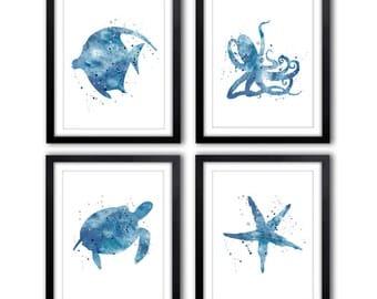 Nautical Nursery Art, Baby Boy, Kids Wall Art, Kids Bathroom, Ocean Art, Sea Turtle, Octopus, Starfish, Fish, Nursery Art Prints, NS20