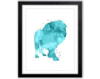 Lion Watercolor, Lion Painting, Animal Watercolor, Lion Silhouette, Abstract Lion Art, Watercolor Print, Nursery Art, Blue and Gray, SA014