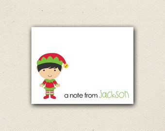 Set of 10 - Blank Holiday Note Cards - Christmas Note Cards - Elf Note Cards - Girls Note Cards - Thank You Cards