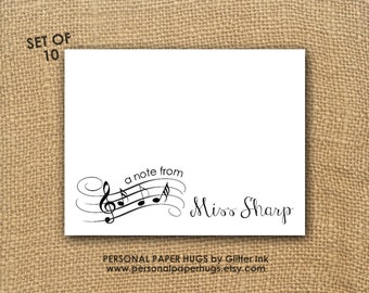 Music Teacher Note Cards - Personalized Stationery - Music Note Cards - Musical Notes Stationery - Musical Notes Thank You Cards
