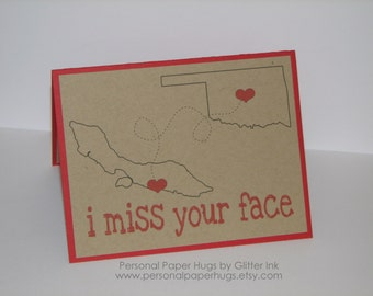 State to State Long Distance Relationship Card - Miss You - I miss your face